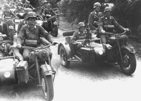Мотоциклы во Второй Мировой войне. Солдаты Вермахта